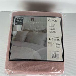 Shang-La Linen Dusty Pink Cashmere Ultra-Soft Flannelette Sheet Set Size Queen